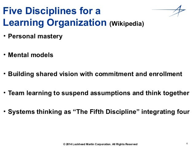 five disciplines of organizational learning