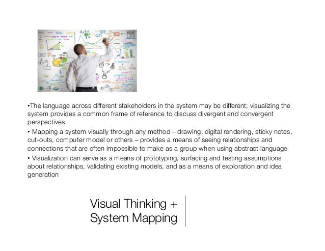 """Visual Thinking +"""" System Mapping •The language across different stakeholders in the system may be different; visualizing..."""