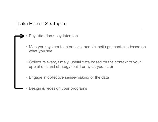 Take Home: Strategies • Pay attention / pay intention • Map your system to intentions, people, settings, contexts based ...