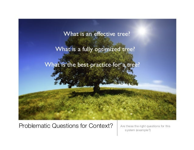 Problematic Questions for Context?  Are these the right questions for this system (example?) What is an effective tree?  ...