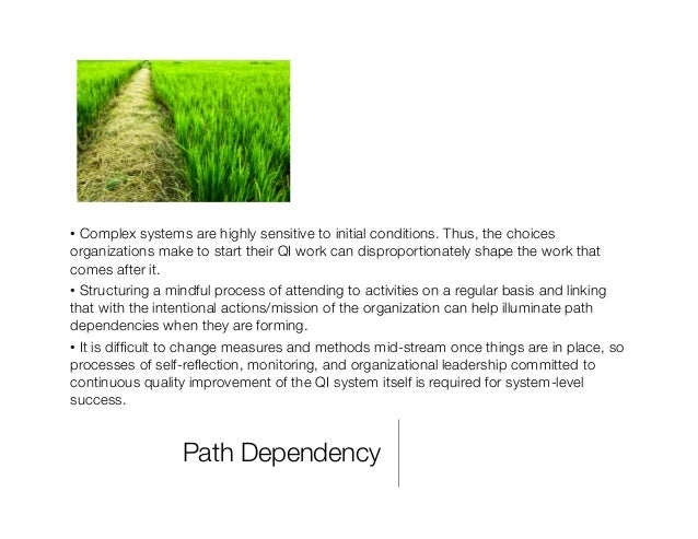 Path Dependency •Complex systems are highly sensitive to initial conditions. Thus, the choices organizations make to star...