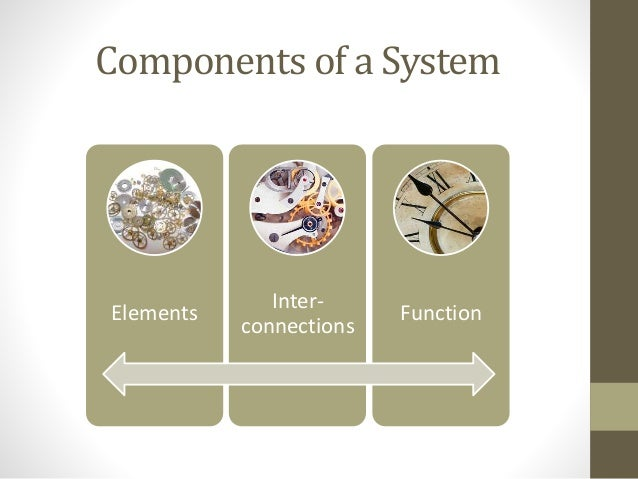 Components of a System Elements Inter- connections Function
