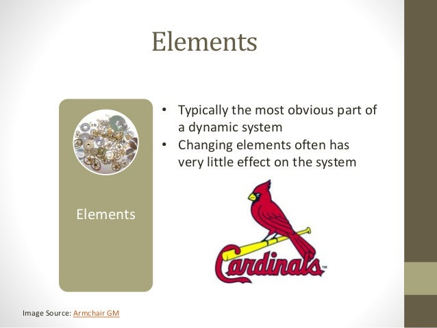 Elements Elements • Typically the most obvious part of a dynamic system • Changing elements often has very little effect o...