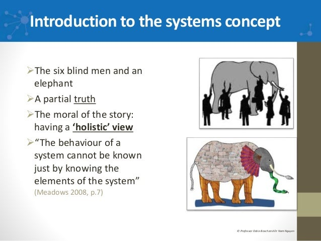 Introduction to the systems concept The six blind men and an elephant A partial truth The moral of the story: having a ...