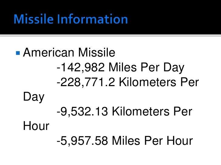 Missile Information<br />American Missile<br />-142,982 Miles Per Day<br />-228,771.2 Kilometers Per Day<br />-9,532...