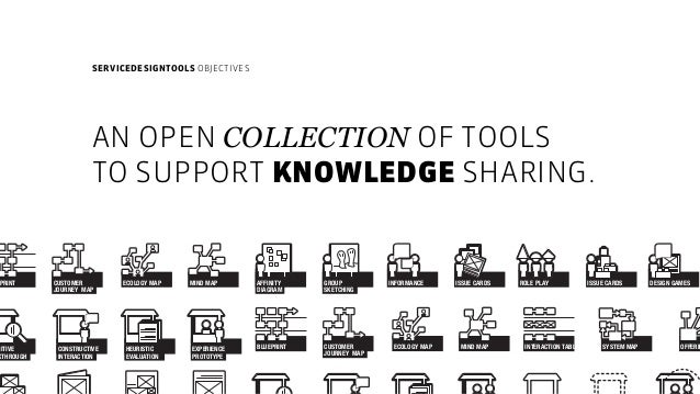 SERVICEDESIGNTOOLS OBJECTIVES AN OPEN COLLECTION OF TOOLS TO SUPPORT KNOWLEDGE SHARING. DESIGN GAMESROLE PLAYISSUE CARDSI...
