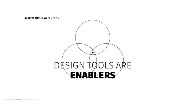 SYSTEM THINKING ROBERTA TASSI DESIGN TOOLS ARE ENABLERS SYSTEM THINKING BENEFITS