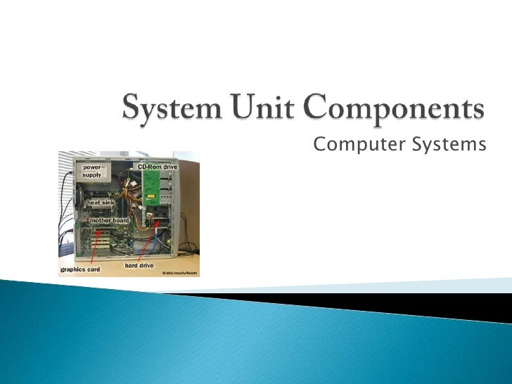 the components of the system unit Chapter 4 the components of the system unit chapter 4 objectives next differentiate among various styles of system units explain the differences among a serial port, a parallel port, a usb port, and other ports.