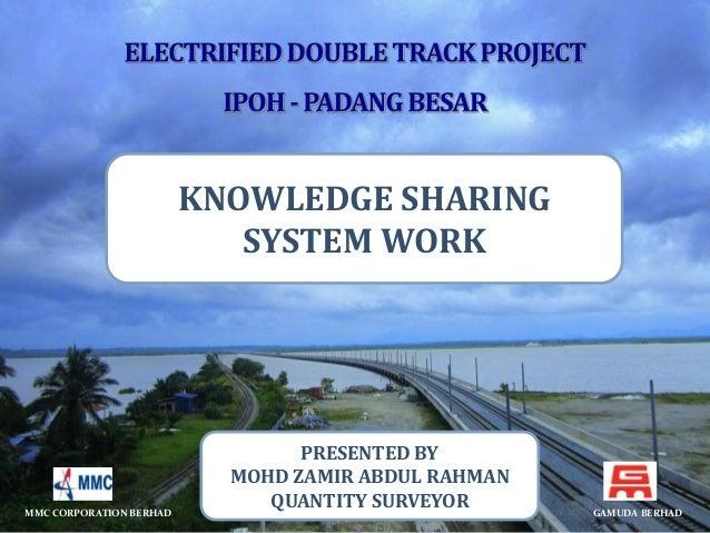 KNOWLEDGE SHARING  SYSTEM WORK  PRESENTED BY  MOHD ZAMIR ABDUL RAHMAN  QUANTITY SURVEYOR  MMC CORPORATION BERHAD GAMUDA BE...