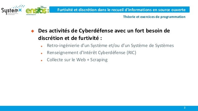 Discretion and furtivity for Cyber Threat Intelligence: theory and programming  Slide 2