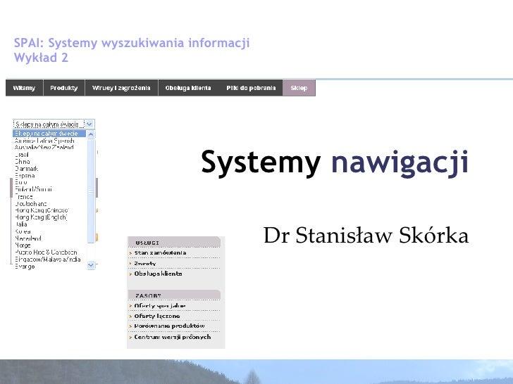 Dr Stanisław Skórka Systemy  nawigacji SPAI: Systemy wyszukiwania informacji  Wykład 2