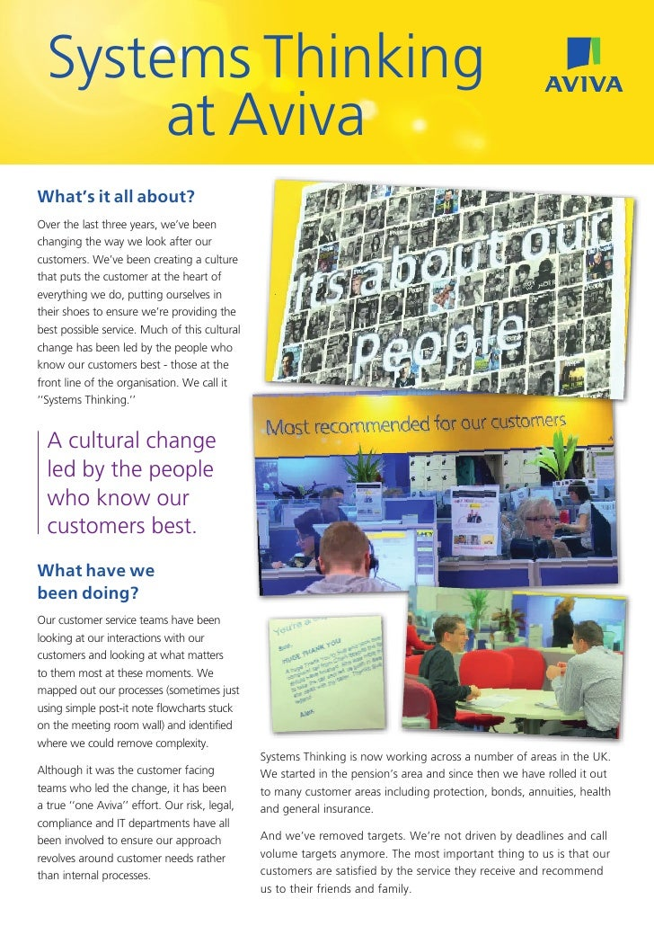 Systems Thinking       at AvivaWhat's it all about?Over the last three years, we've beenchanging the way we look after our...