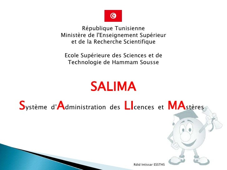 République Tunisienne           Ministère de lEnseignement Supérieur              et de la Recherche Scientifique         ...