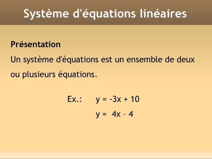 SYSTEME DEQUATION LINEAIRE EPUB DOWNLOAD