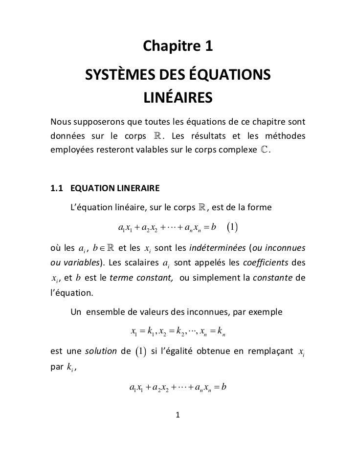 Chapitre1              SYSTÈMESDESÉQUATIONS                    LINÉAIRESNoussupposeronsquetoutesleséquationsde...