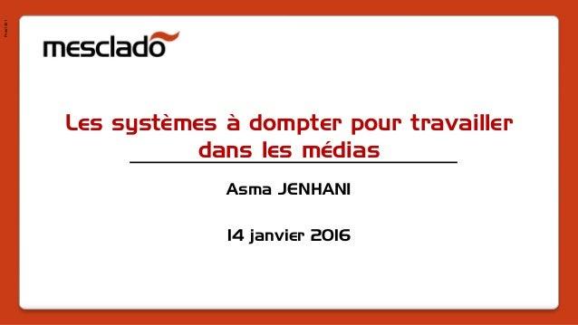 Pres1401 Les systèmes à dompter pour travailler dans les médias Asma JENHANI 14 janvier 2016