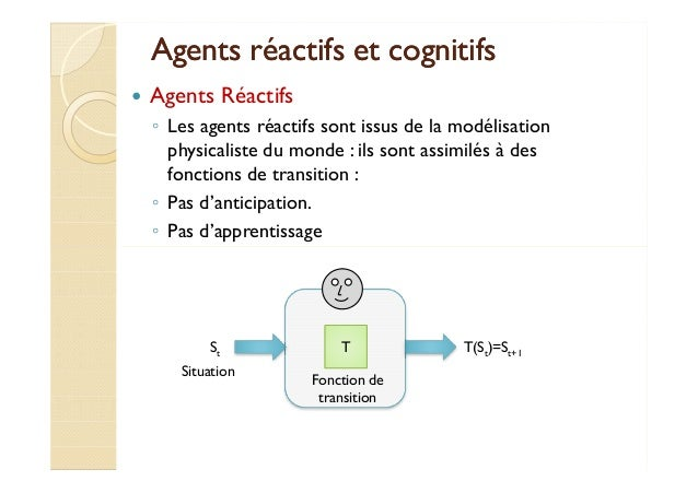 Agents réactifs eett ccooggnniittiiffss   Agents Réactifs  ◦ Les agents réactifs sont issus de la modélisation  physicalis...