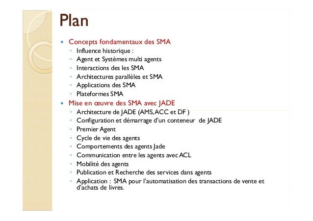 PPllaann   Concepts fondamentaux des SMA  ◦ Influence historique :  ◦ Agent et Systèmes multi agents  ◦ Interactions des l...