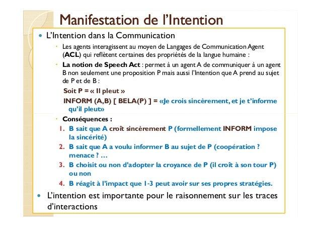 Manifestation ddee ll''IInntteennttiioonn   L'Intention dans la Communication   Les agents interagissent au moyen de Langa...