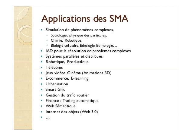 AApppplliiccaattiioonnss ddeess SSMMAA   Simulation de phénomènes complexes,  ◦ Sociologie, physique des particules,  ◦ Ch...