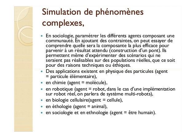 Simulation ddee pphhéénnoommèènneess  ccoommpplleexxeess,,   En sociologie, paramétrer les différents agents composant une...