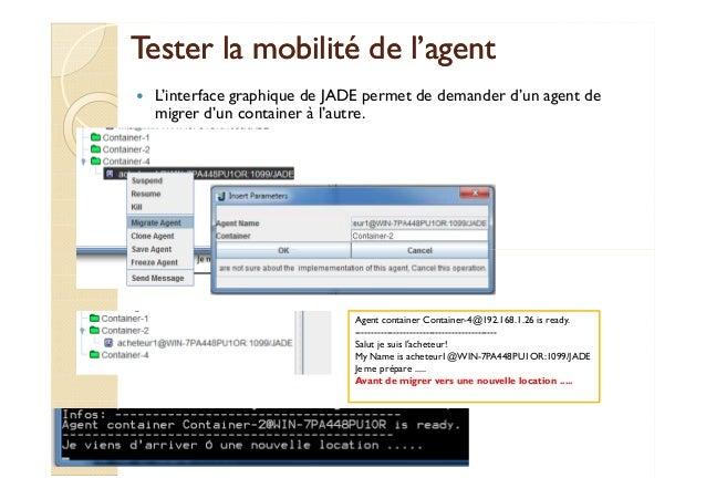 Tester la mmoobbiilliittéé ddee ll''aaggeenntt   L'interface graphique de JADE permet de demander d'un agent de  migrer d'...