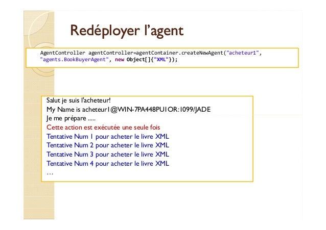 RReeddééppllooyyeerr ll''aaggeenntt  AgentController agentController=agentContainer.createNewAgent(acheteur1,  agents.Book...
