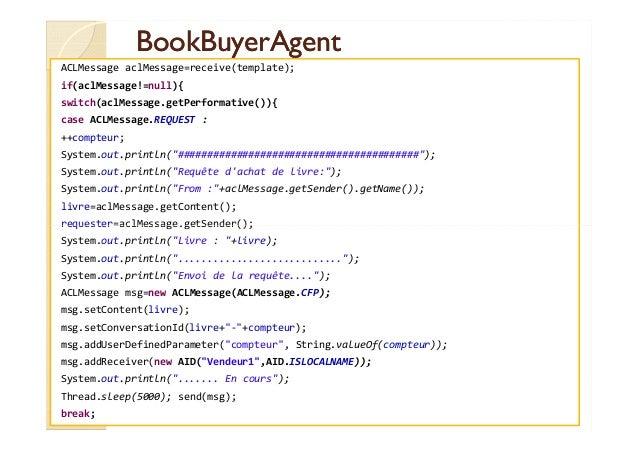 BBooookkBBuuyyeerrAAggeenntt  ACLMessage aclMessage=receive(template);  if(aclMessage!=null){  switch(aclMessage.getPerfor...
