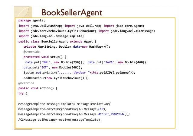 BBooookkSSeelllleerrAAggeenntt  package agents;  import java.util.HashMap; import java.util.Map; import jade.core.Agent;  ...
