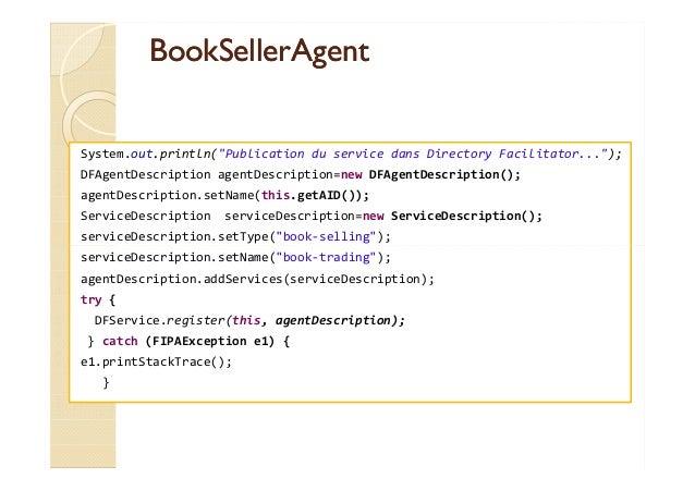 BBooookkSSeelllleerrAAggeenntt  System.out.println(Publication du service dans Directory Facilitator...);  DFAgentDescript...