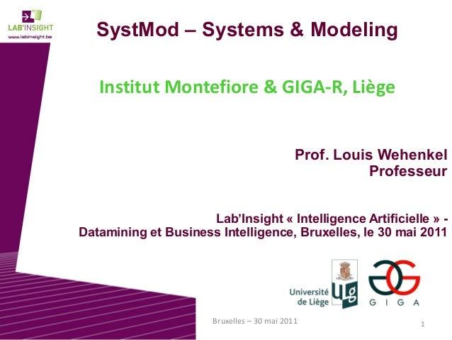 1Bruxelles – 30 mai 2011 SystMod – Systems & Modeling Institut Montefiore & GIGA-R, Liège Prof. Louis Wehenkel Professeur ...