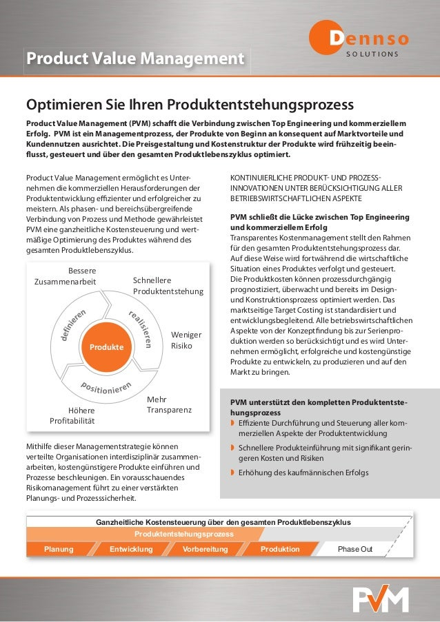 S O L U T I O N S Product Value Management Optimieren Sie Ihren Produktentstehungsprozess Product Value Management (PVM) s...