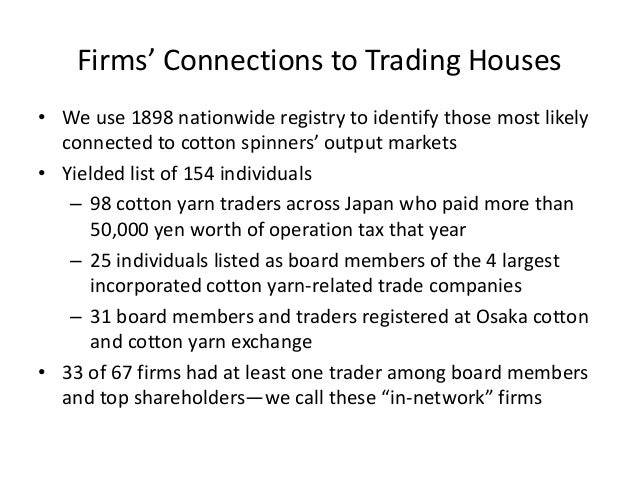 •We use 1898 nationwide registry to identify those most likely connected to cotton spinners' output markets  •Yielded list...