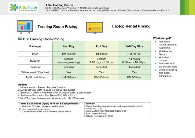 Our Training Room Pricing Package Half Day Full Day Full Day Plus Price RM 250.00 RM 400.00 RM 600.00 Duration 5 hours (mo...