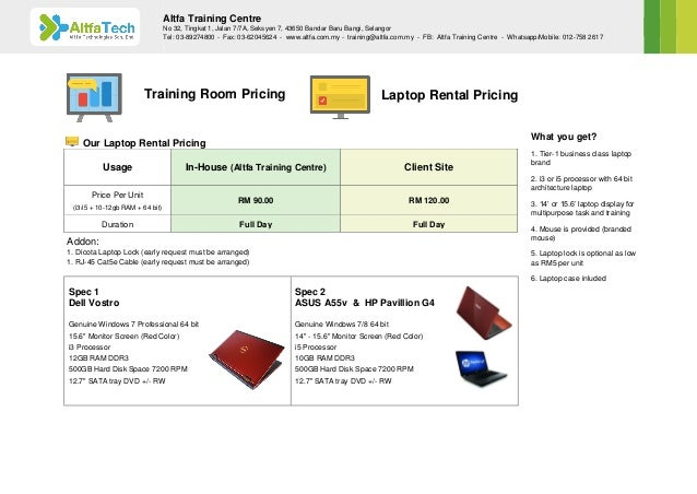 Altfa Training Centre - Training Room Rental & Laptop Rental Brochure Slide 2