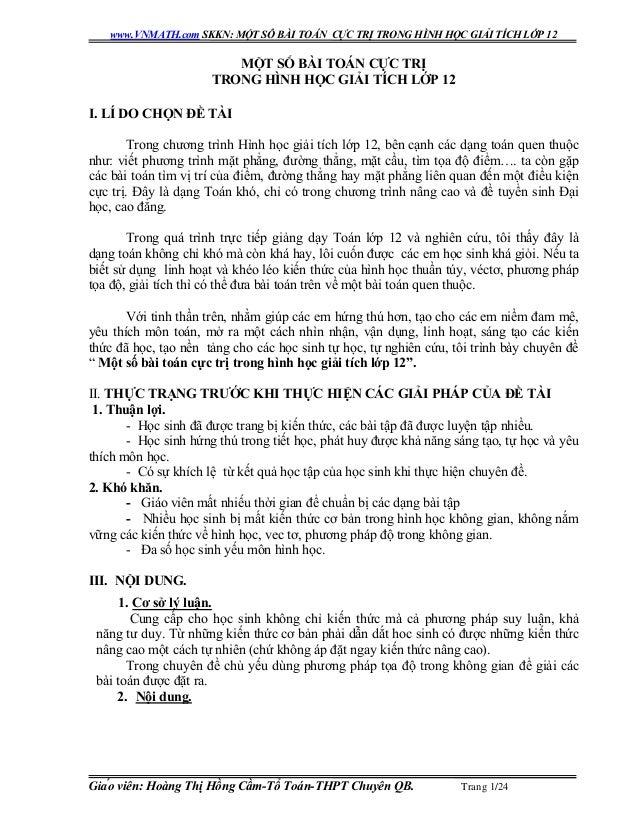 www.VNMATH.com SKKN: MỘT SÔ BÀI TOÁN CỰC TRỊ TRONG HÌNH HỌC GIẢI TÍCH LỚP 12 Giáo viên: Hoàng Thị Hồng Cầm-Tổ Toán-THPT C...
