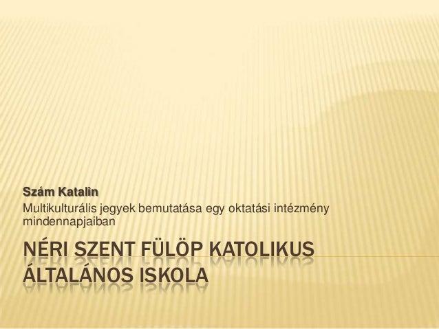 NÉRI SZENT FÜLÖP KATOLIKUSÁLTALÁNOS ISKOLASzám KatalinMultikulturális jegyek bemutatása egy oktatási intézménymindennapjai...