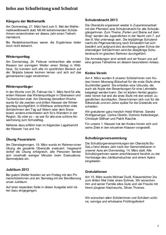 Schülerzeitung BuGaLu März 2013