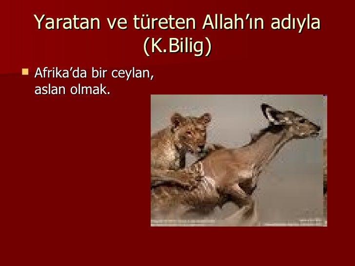 Yaratan ve türeten Allah'ın adıyla (K.Bilig) <ul><li>Afrika'da bir ceylan, aslan olmak.  </li></ul>