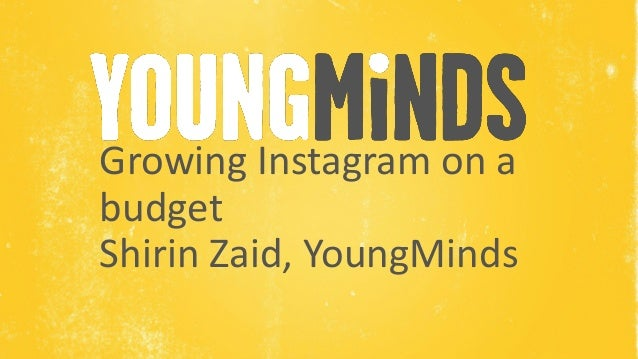 Name of Presenter Growing Instagram on a budget Shirin Zaid, YoungMinds