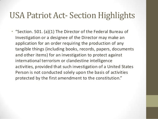 an argument against the patriot act in the united states Start studying homeland security test 2 learn vocabulary, terms, and more was the second united states secretary of homeland security under president george w bush and co-author of the usa patriot act act of the united states congress signed into law by president franklin d.