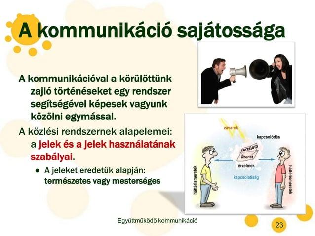 A kommunikáció sajátossága A kommunikációval a körülöttünk zajló történéseket egy rendszer segítségével képesek vagyunk kö...