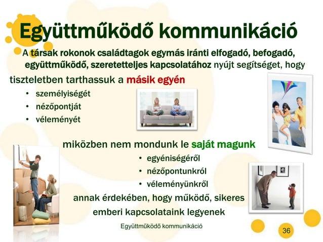 Együttműködő kommunikáció A társak rokonok családtagok egymás iránti elfogadó, befogadó, együttműködő, szeretetteljes kapc...