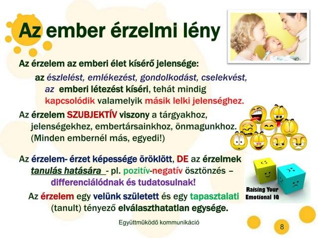 Az ember érzelmi lény Az érzelem az emberi élet kísérő jelensége: az észlelést, emlékezést, gondolkodást, cselekvést, az e...