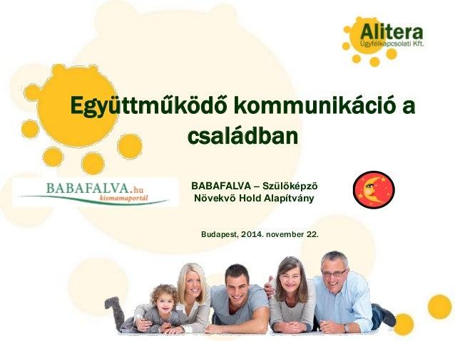 Együttműködő kommunikáció a családban Budapest, 2014. november 22. BABAFALVA – Szülőképző Növekvő Hold Alapítvány