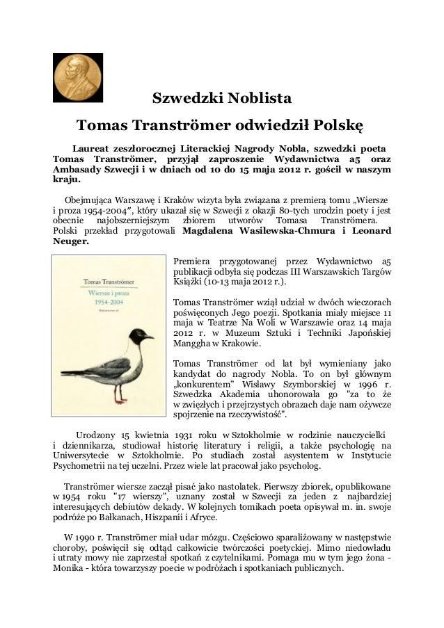 Szwedzki Noblista Tomas Tranströmer Odwiedził Polskę