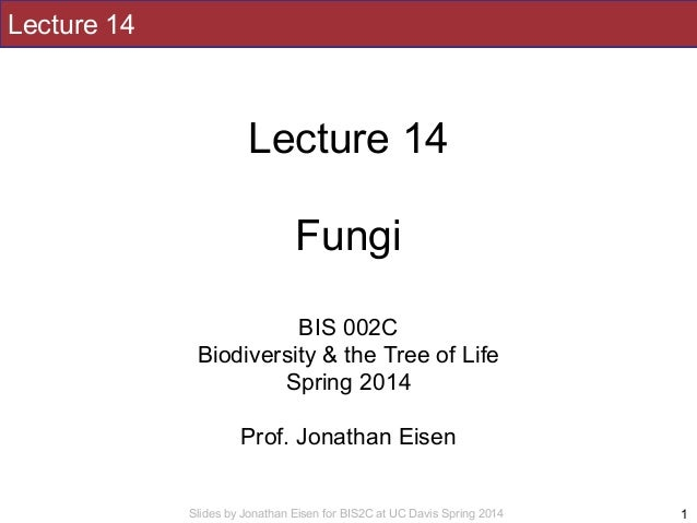 Slides by Jonathan Eisen for BIS2C at UC Davis Spring 2014 Lecture 14 ! Lecture 14 ! Fungi ! ! BIS 002C Biodiversity & the...