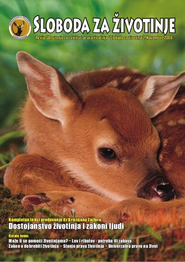 """SlobodazaživotinjeRevija Udruženja za zaštitu i prava životinja """"Sloboda za životinje"""", Novembar 2006. Ostale teme: Može l..."""