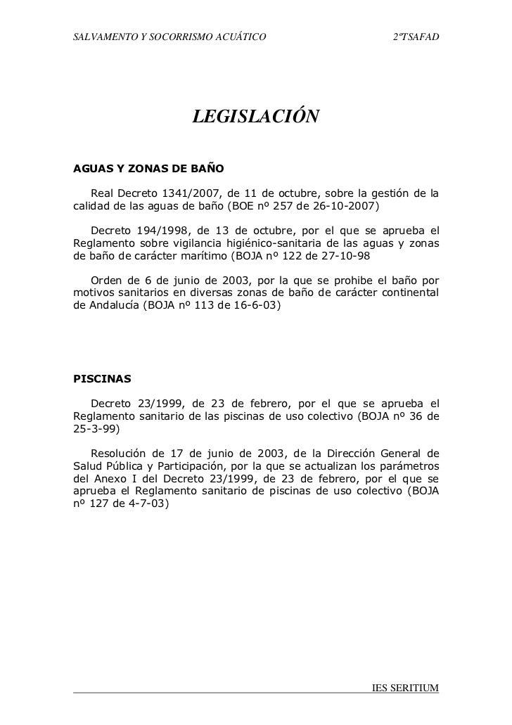 SALVAMENTO Y SOCORRISMO ACUÁTICO                             2ºTSAFAD                      LEGISLACIÓNAGUAS Y ZONAS DE BAÑ...