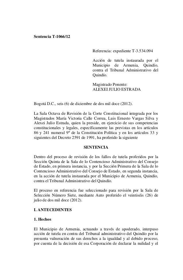 Sentencia T-1066/12                                  Referencia: expediente T-3.534.094                                  A...